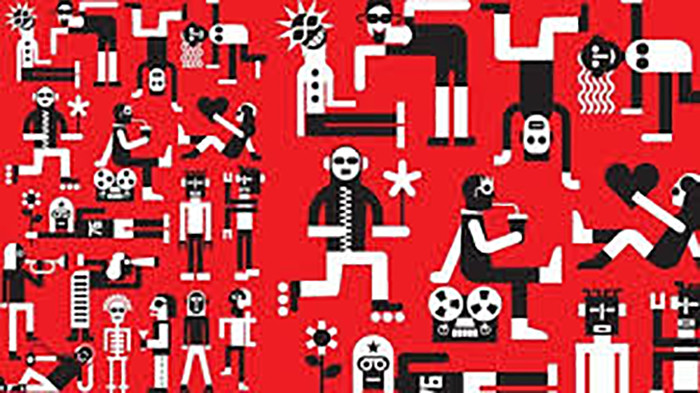 Red background with funny characters
